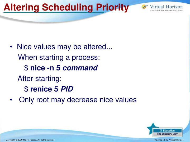 Altering Scheduling Priority