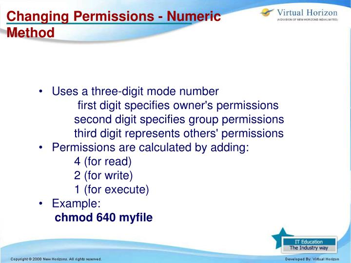 Changing Permissions - Numeric
