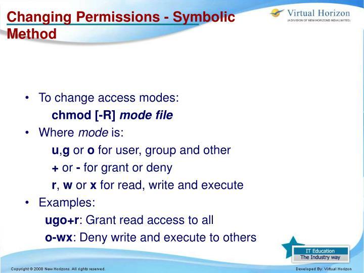 Changing Permissions - Symbolic