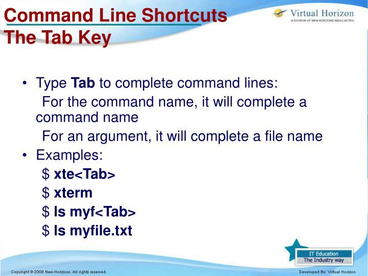 Command Line Shortcuts