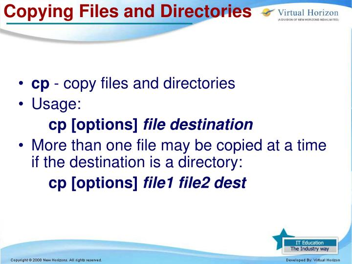 Copying Files and Directories