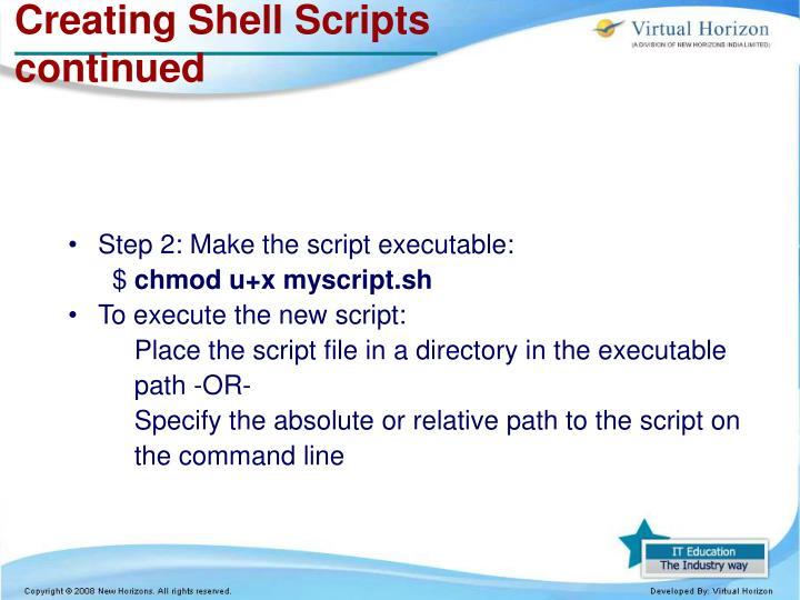 Creating Shell Scripts