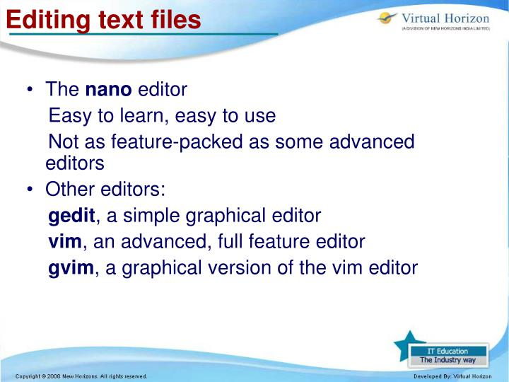 Editing text files