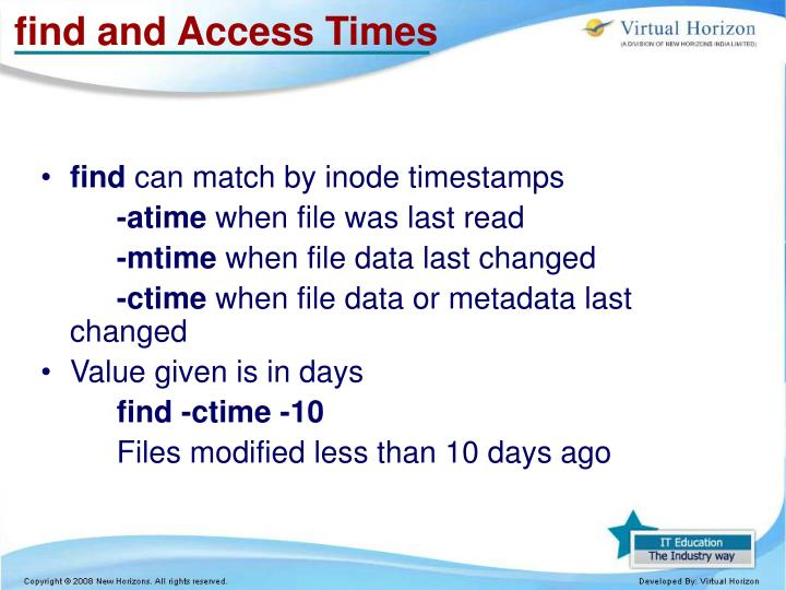 find and Access Times