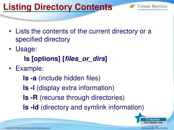 Listing Directory Contents