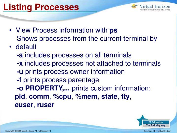 Listing Processes