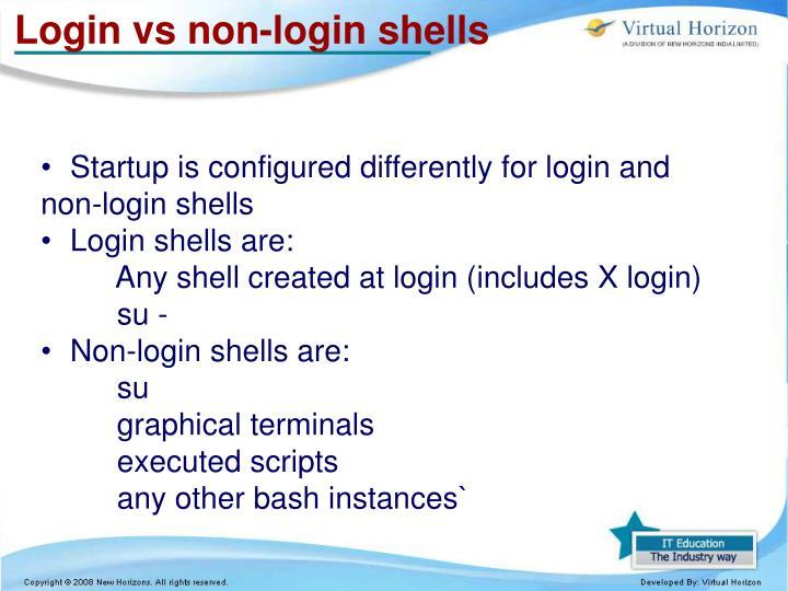 Login vs non-login shells