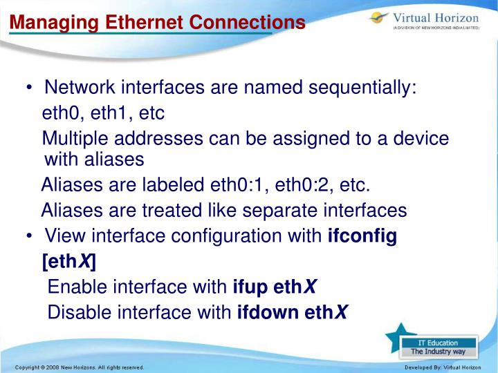 Managing Ethernet Connections