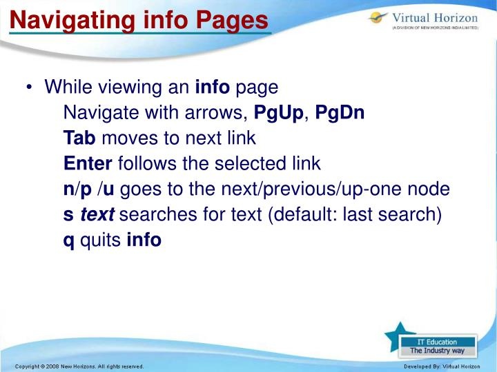 Navigating info Pages