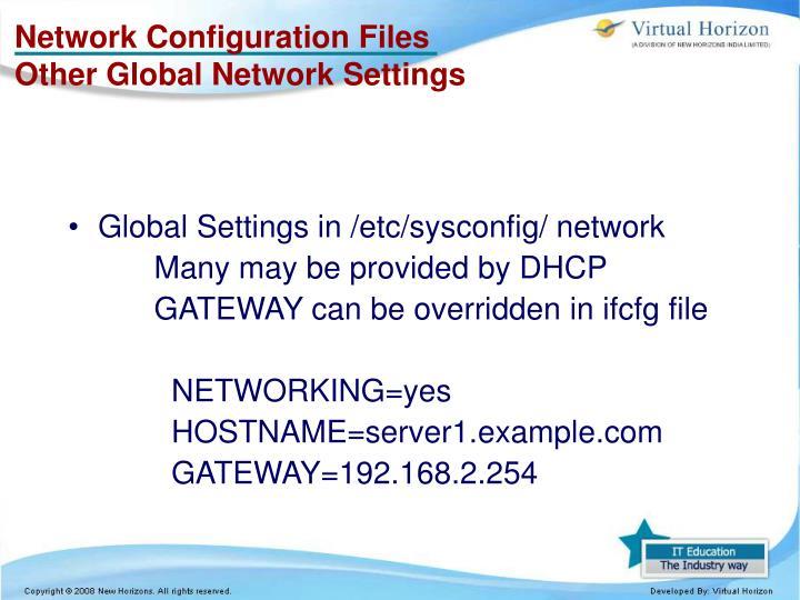 Network Configuration Files