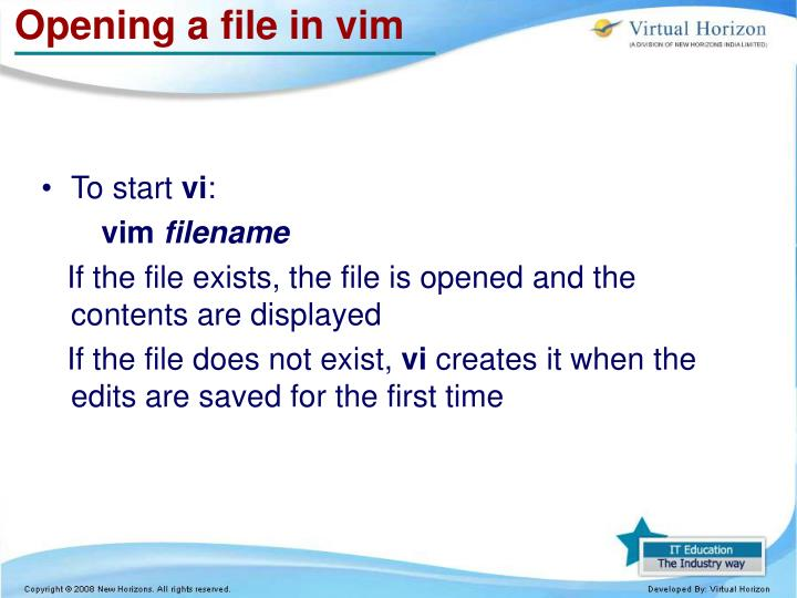 Opening a file in vim