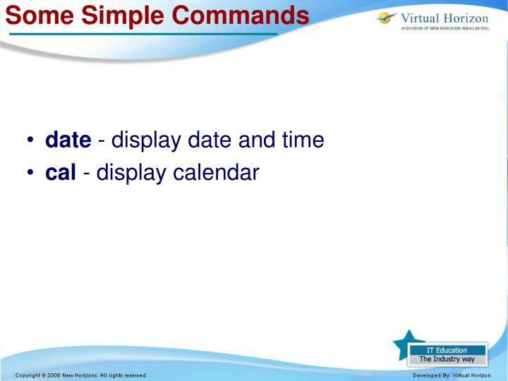 Some Simple Commands