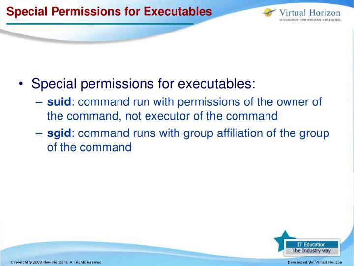 Special Permissions for Executables
