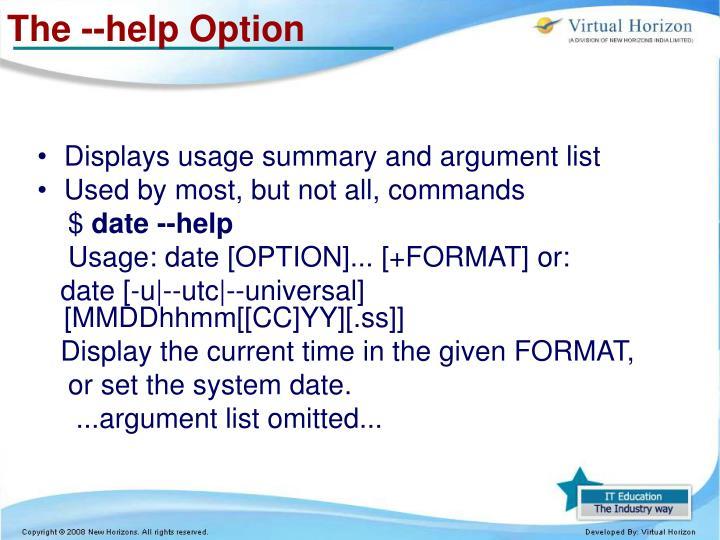 The --help Option
