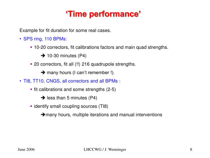 'Time performance'