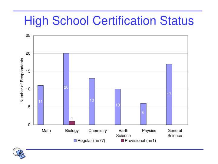 High School Certification Status