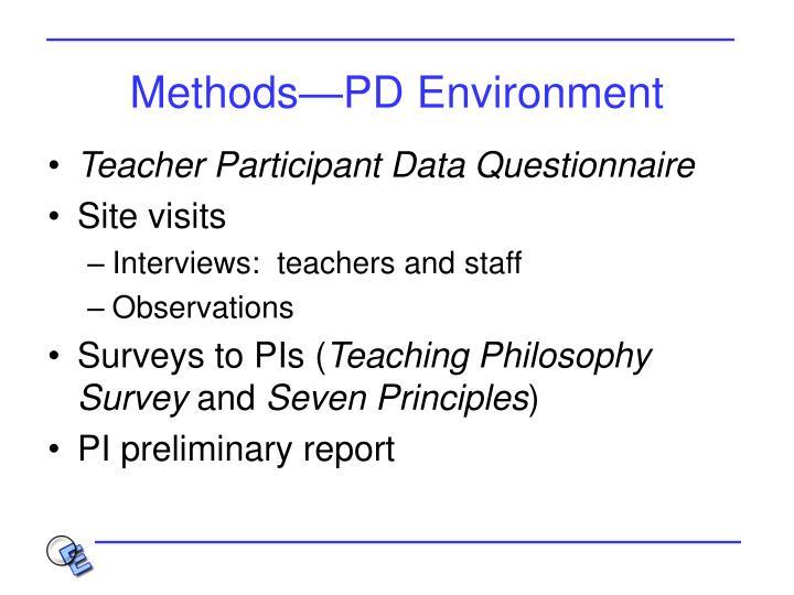 Methods—PD Environment
