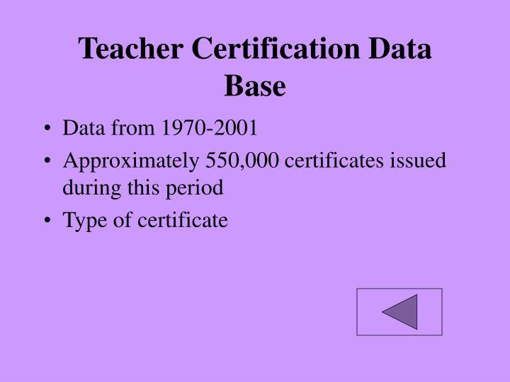 Teacher Certification Data Base