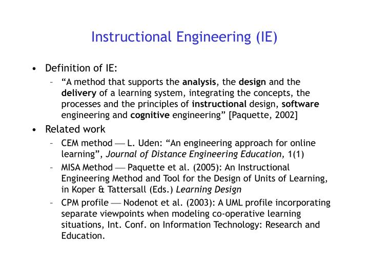 Instructional Engineering (IE)