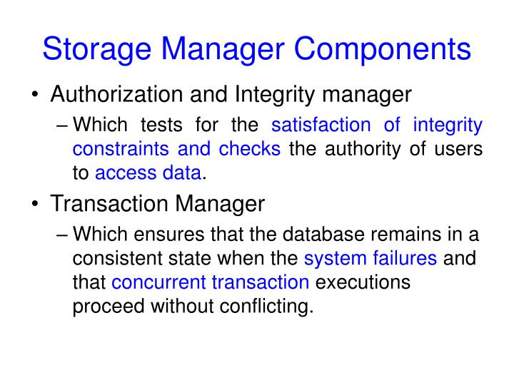 Storage Manager Components