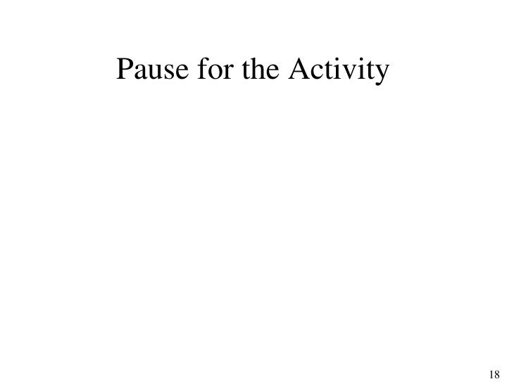 Pause for the Activity
