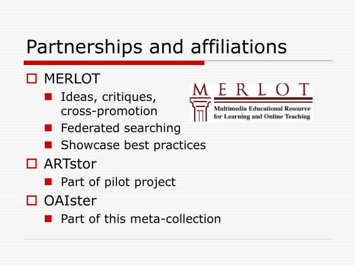Partnerships and affiliations