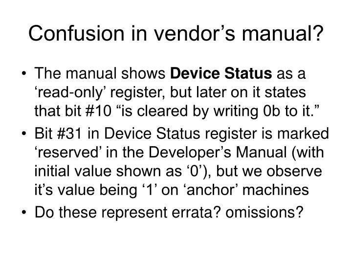 Confusion in vendor's manual?