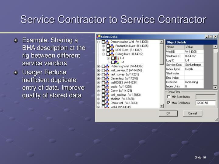 Service Contractor to Service Contractor