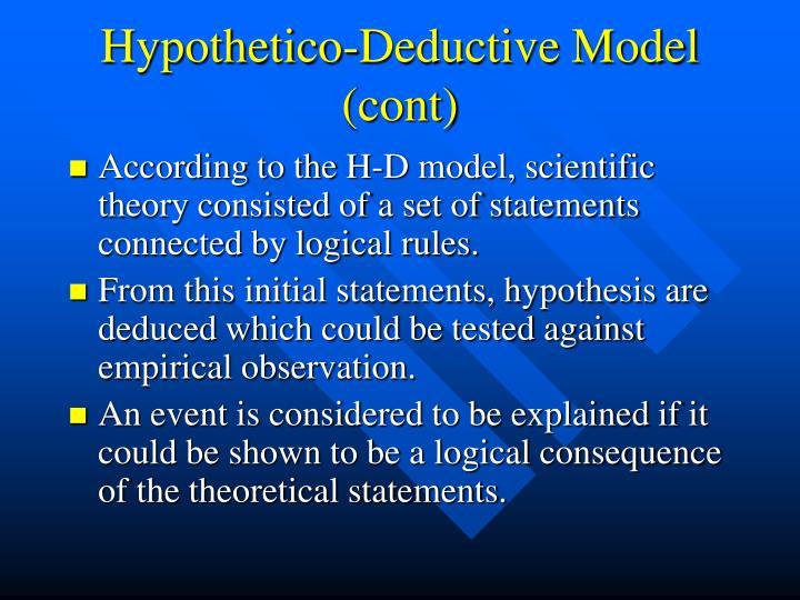 Hypothetico-Deductive Model (cont)