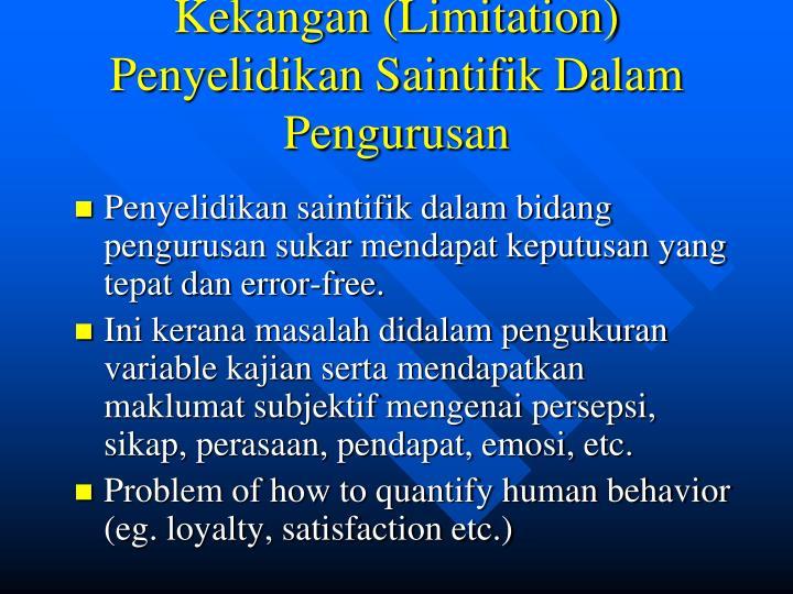 Kekangan (Limitation) Penyelidikan Saintifik Dalam Pengurusan