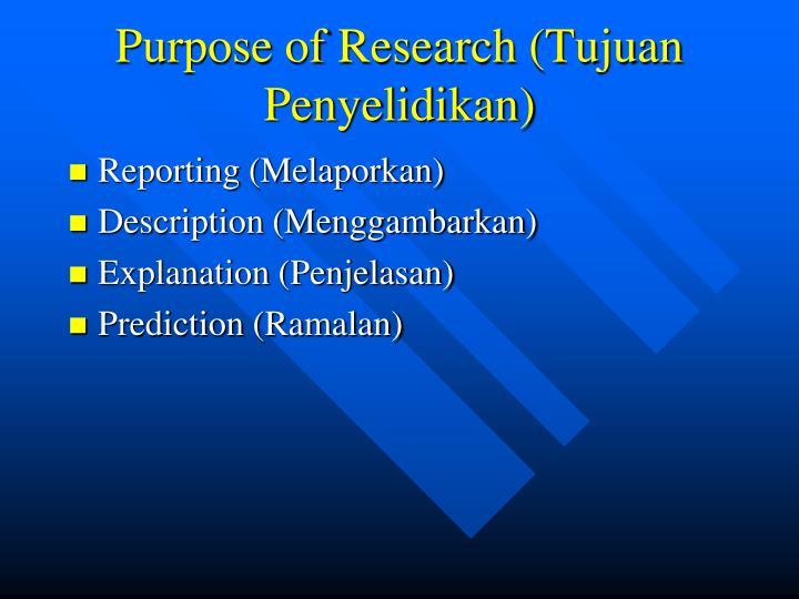 Purpose of Research (Tujuan Penyelidikan)