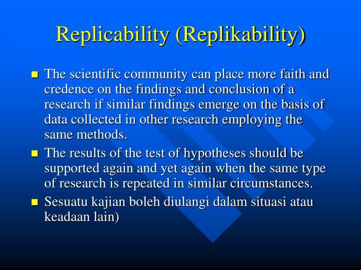 Replicability (Replikability)