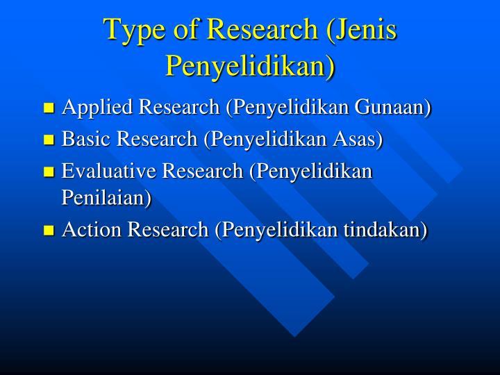 Type of Research (Jenis Penyelidikan)