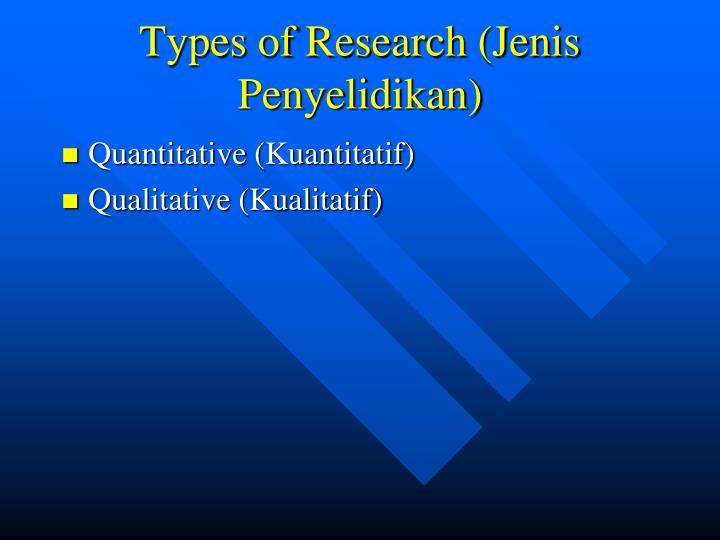 Types of Research (Jenis Penyelidikan)
