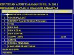 keputusan audit dalaman 5s bil 3 2011 bertarikh 19 05 2011 bagi zon bakawali
