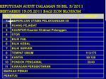 keputusan audit dalaman 5s bil 3 2011 bertarikh 19 05 2011 bagi zon blossom