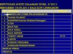 keputusan audit dalaman 5s bil 3 2011 bertarikh 19 05 2011 bagi zon cinnamon