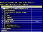 keputusan audit dalaman 5s bil 3 2011 bertarikh 19 05 2011 bagi zon iris
