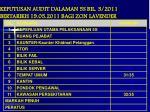 keputusan audit dalaman 5s bil 3 2011 bertarikh 19 05 2011 bagi zon lavender