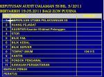 keputusan audit dalaman 5s bil 3 2011 bertarikh 19 05 2011 bagi zon pudina