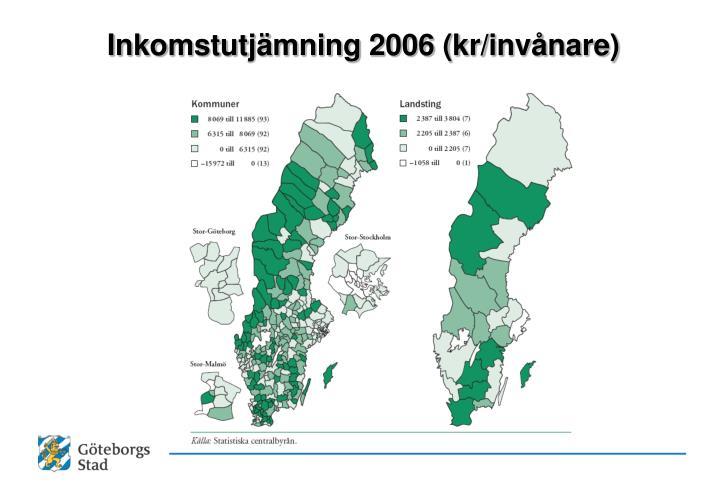 Inkomstutjämning 2006 (kr/invånare)