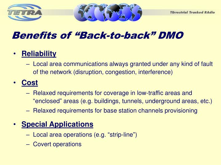 """Benefits of """"Back-to-back"""" DMO"""
