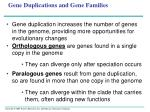 gene duplications and gene families