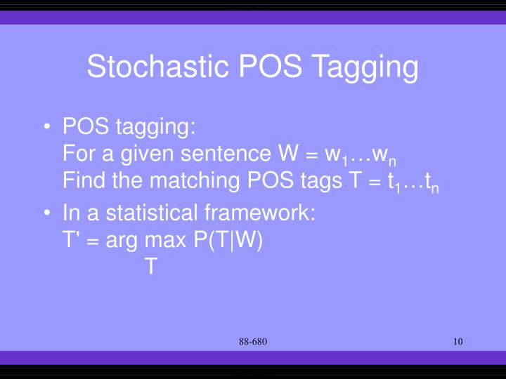 Stochastic POS Tagging