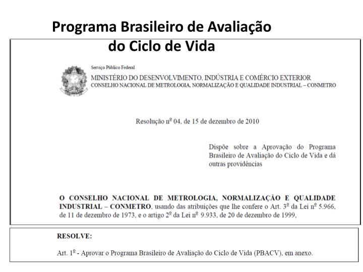 Programa Brasileiro de Avaliação do Ciclo de Vida