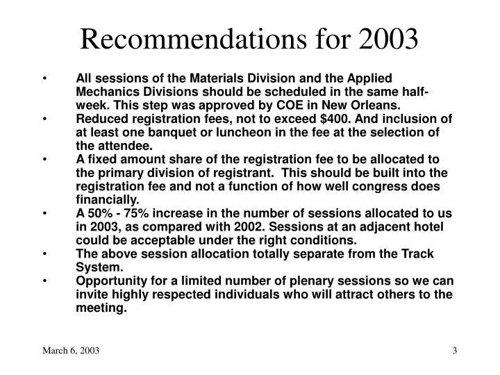 Recommendations for 2003