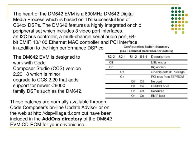 The heart of the DM642 EVM is a 600MHz DM642 Digital