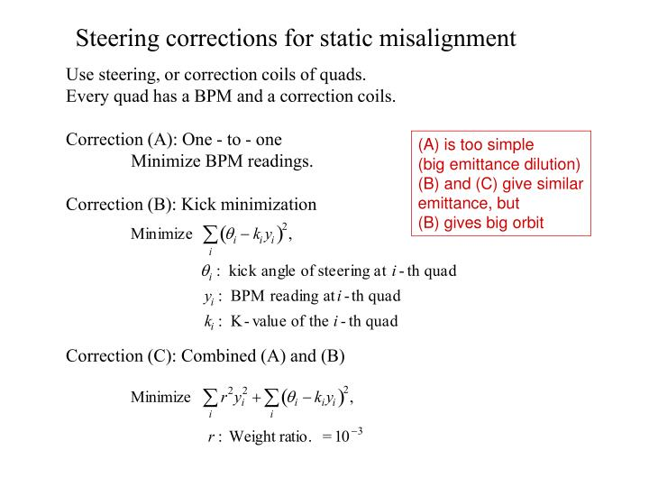Steering corrections for static misalignment