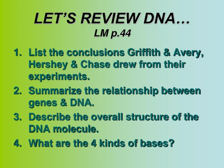 LET'S REVIEW DNA…