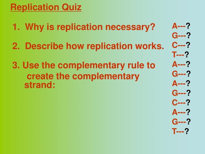 Replication Quiz